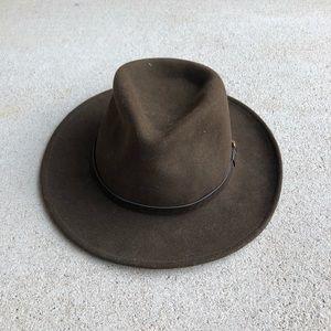 Vintage Brown Western Wool Felt Fedora Hat